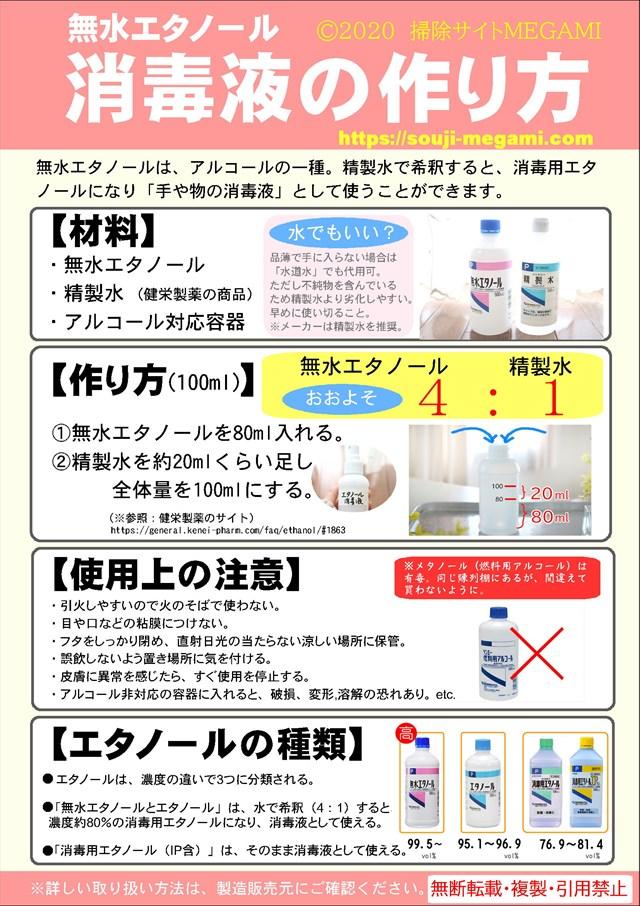 無水 エタノール 消毒 液 の 作り方